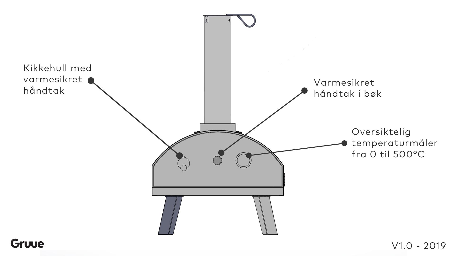 Gruue vedfyrt pizzaovn teknisk tegning av forsiden