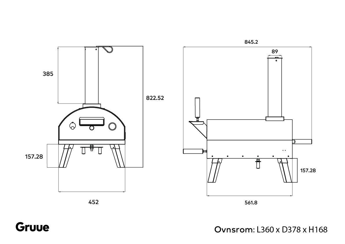 Gruue vedfyrt pizzaovn pizzaboks størrelse mål