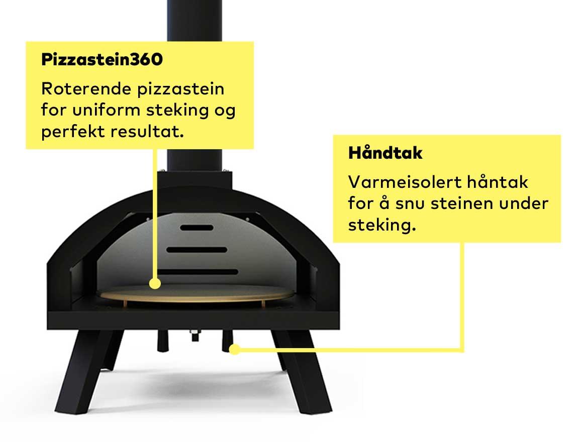 Vedfyrt pizzaovn best i test til salgs med roterende pizzastein