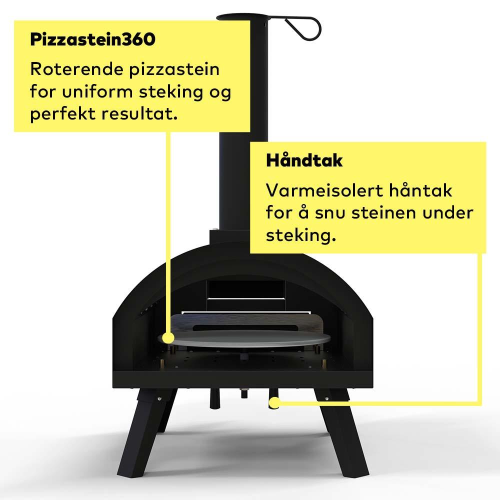 Vedfyrt pizzaovn med roterende pizzastein kun fra gruue